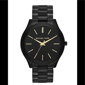 Unisex Slim Black-Tone Stainless Steel Watch